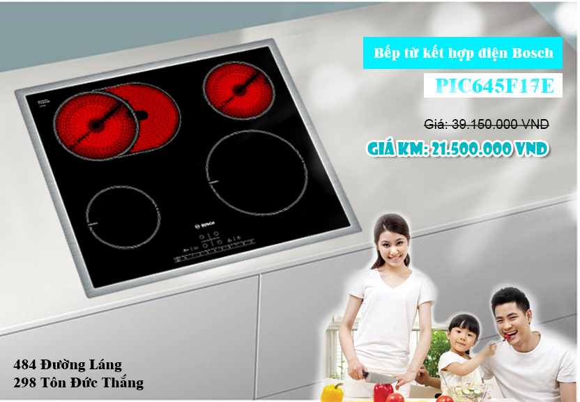 Bếp điện kết hợp từ Bosch PIC645F17E, bếp điện kết hợp từ cao cấp