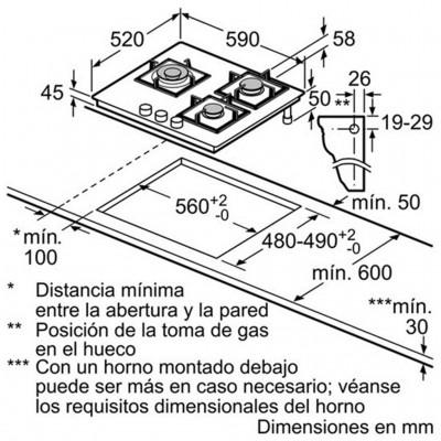 kích thước Bếp Gas Âm Bosch PPC616B21E