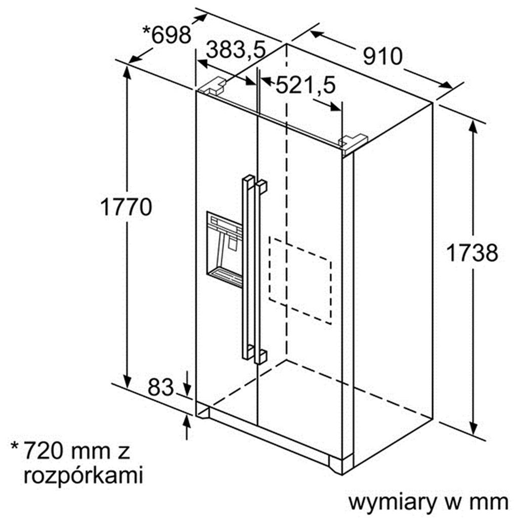 kích thước Tủ lạnh Side by Side Bosch KAG90AI20