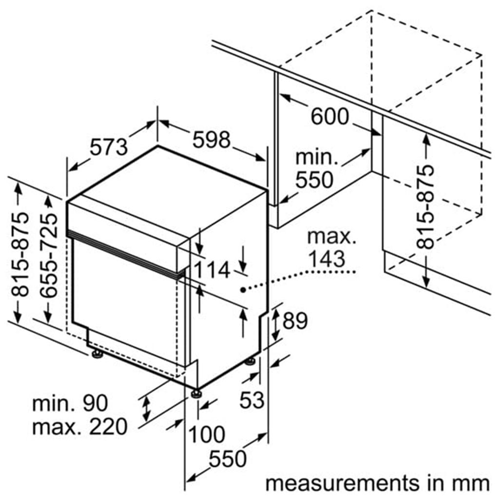 Kích thước lắp đặt Máy rửa bát Bosch SMI53L15EU