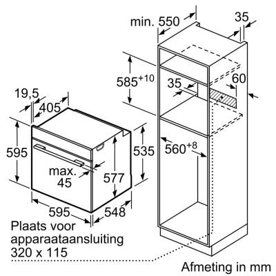 Kích thước lắp đặt lò nướng Bosch HBG634BB1