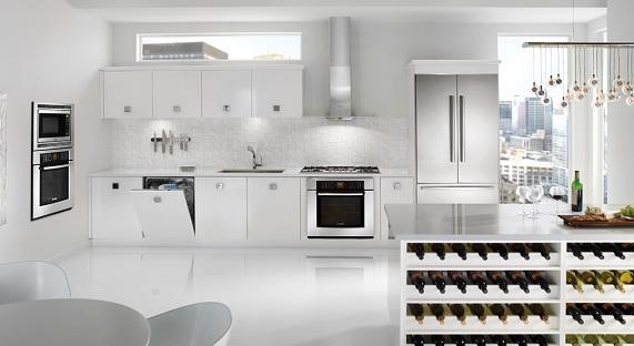 Không gian sang trọng với gam màu trắng của các thiết bị nhà bếp Bosch
