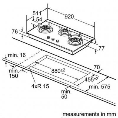 kích thước Bếp Gas Âm Kính Bosch PBD9331SG