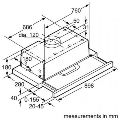 Kích Thước Máy Hút Mùi Bosch DHI923GSG