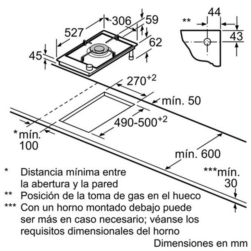 Kích thước lắp đặt bếp gas Bosch PRA326B70E