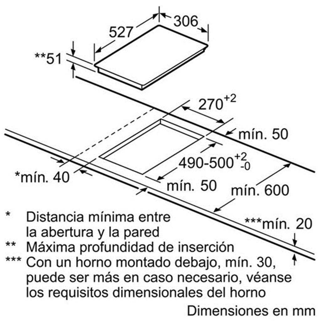 Kích thước lắp đặt bếp domino từ Bosch PIV375N17E