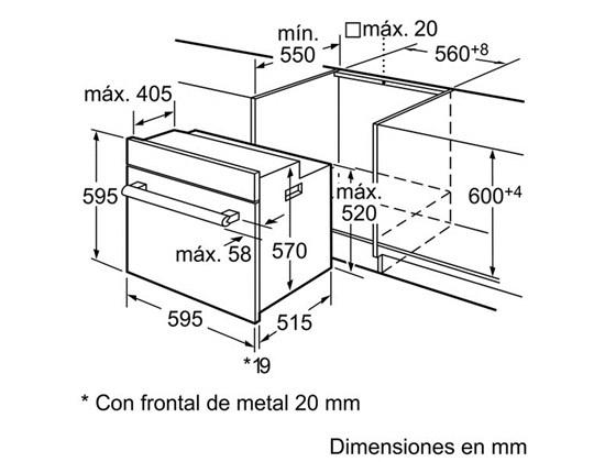 Kích thước lắp đặt lò nướng Bosch HBA42R451E