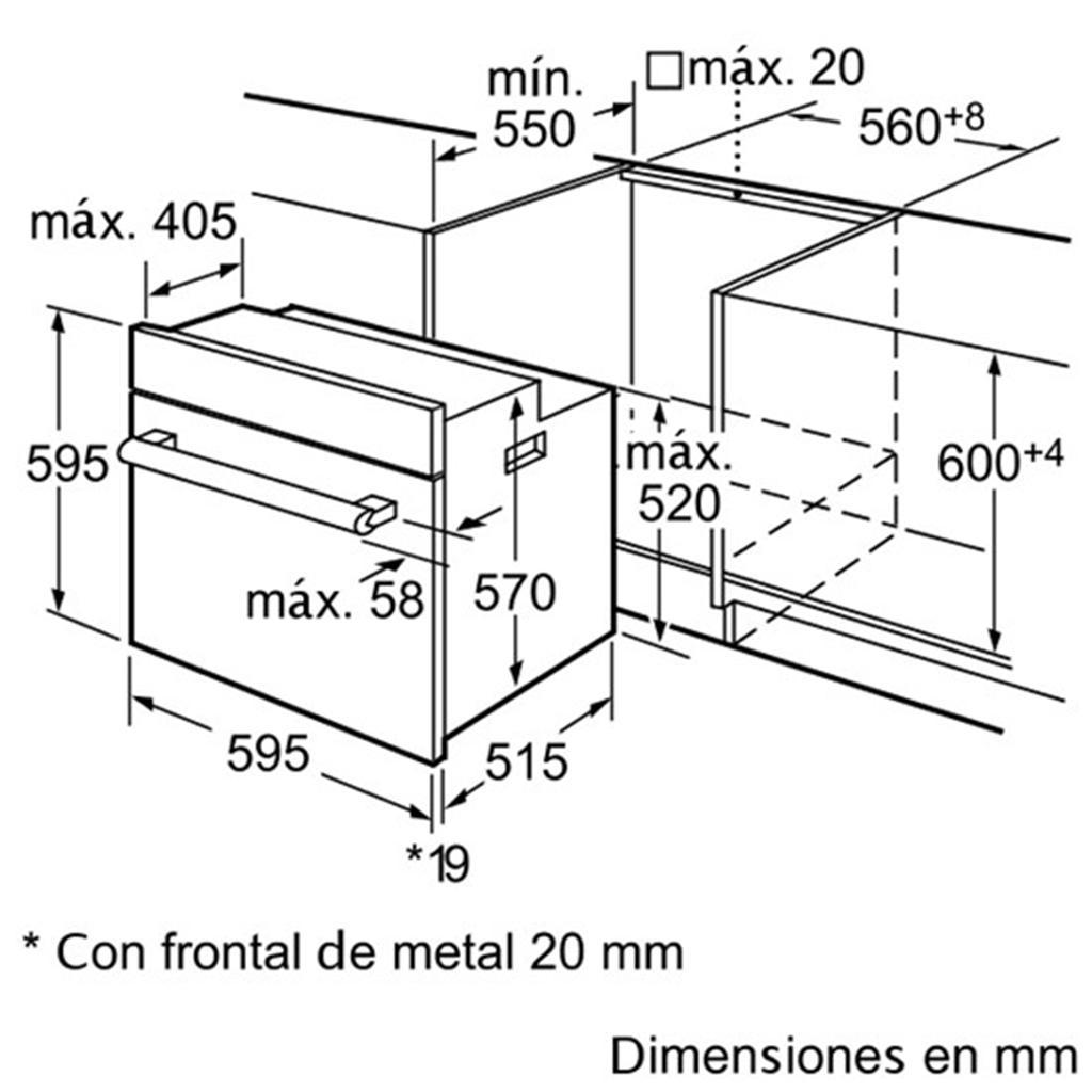 Kích thước lắp đặt lò nướng Bosch HBA43S462E