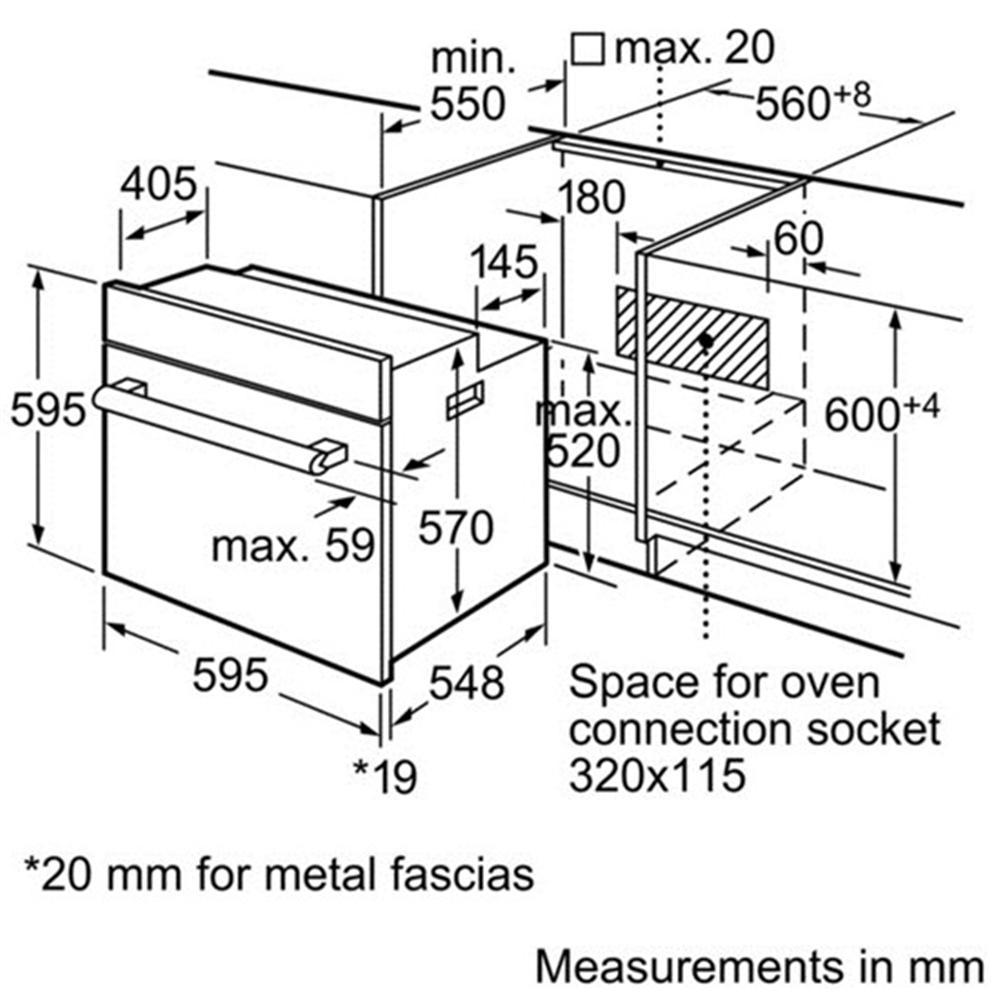 Kích thước lắp đặt lò nướng Bosch HBN231E2J