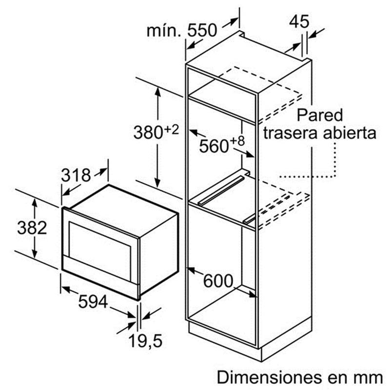 Kích thước lắp đặt lò vi sóng Bosch BFL634GB1