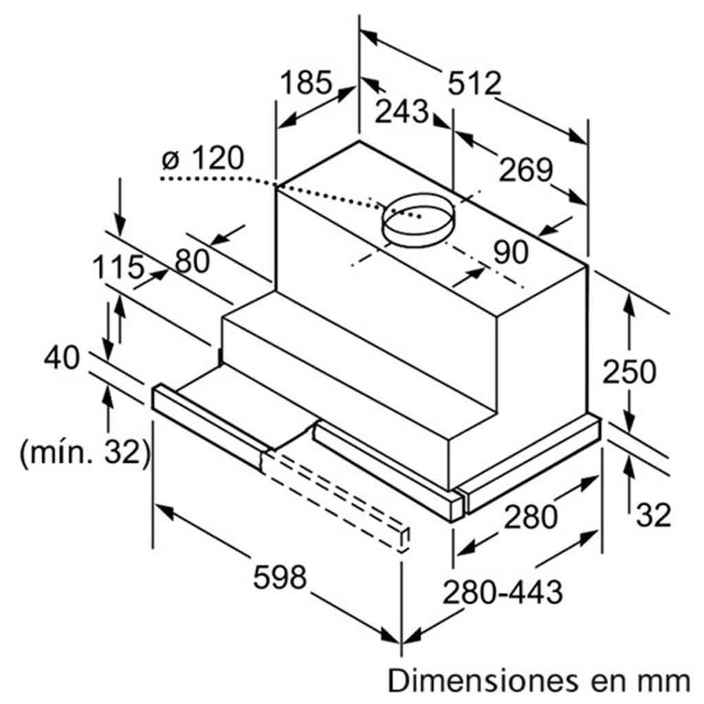 Kịch thước lắp đặt máy hút mùi Bosch DHI645HX
