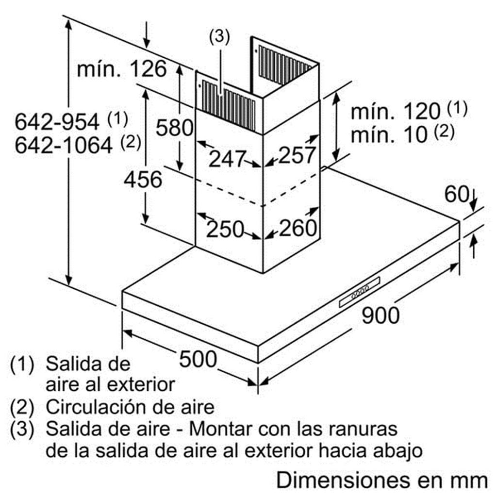 Kích thước lắp đặt máy hút mùi Bosch DWB09W651