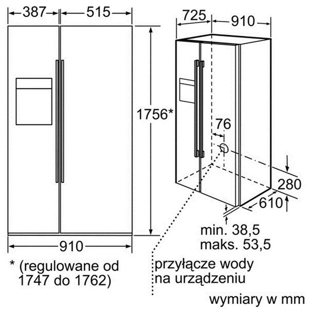 Kích thước lắp đặt tủ lạnh Bosch KAD62S21
