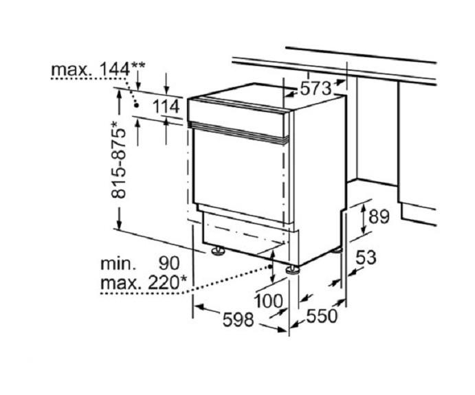 Kích thước lắp đặt máy rửa bát Bosch SMI65M05EU
