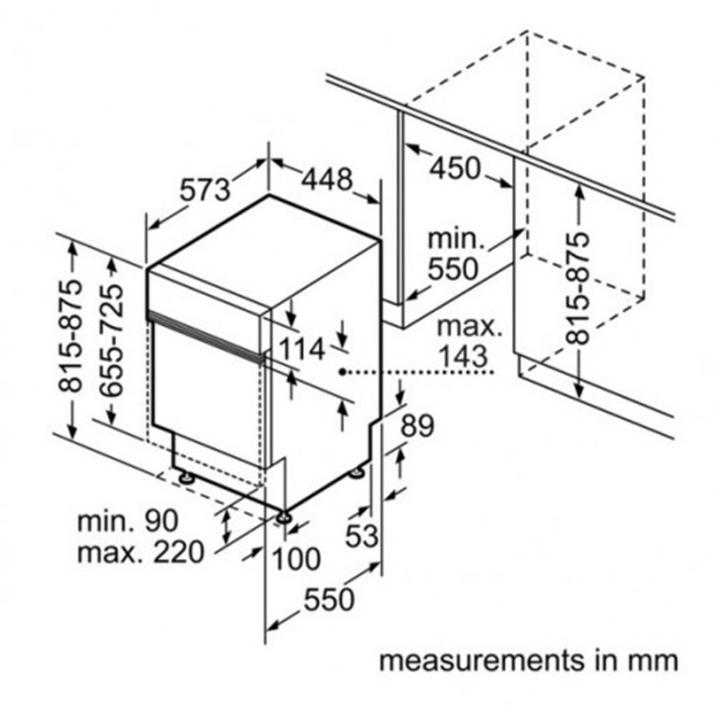 Kích thước lắp đặt máy rửa bát Bosch SPI50E15EU