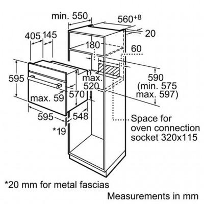 Kích thước lắp đặt lò nướng Bosch HBN231E2