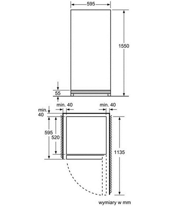 Thông tin lắp đặt kĩ thuật tủ rượu Bosch KSW26V80