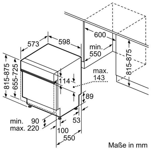Thông tin lắp đặt máy rửa bát Bosch SMI88TS01E.